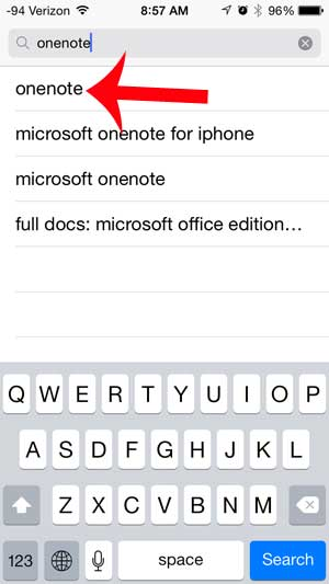 select the onenote search result