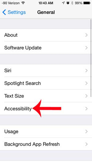 select the accessibility option