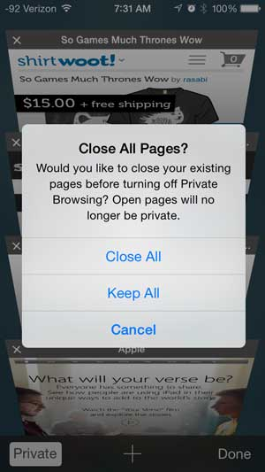 how to turn off private browsing in safari on the iphone