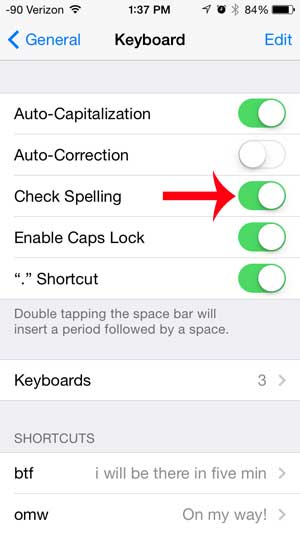 how to turn on spell check on the iphone 5