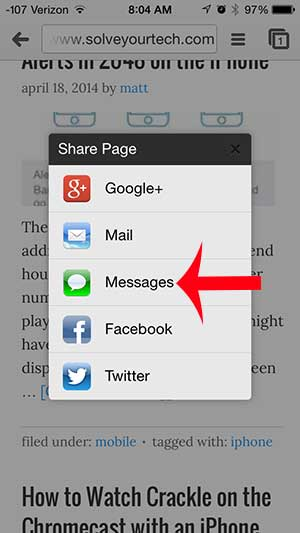 how to share a web page link via text message in the iphone chrome app