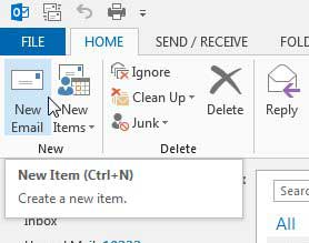 click the new email button
