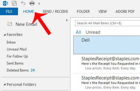 how to show the ribbon in outlook 2013 if it is hidden