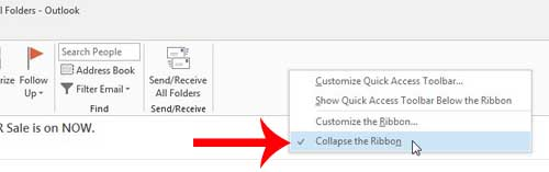 click the collapse the ribbon option