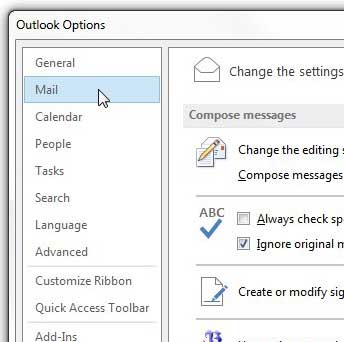 click the mail option in the outlook options window