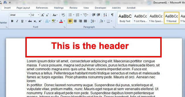 what is a header in word