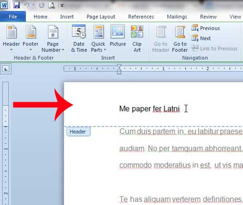 how to edit a header in word 2010