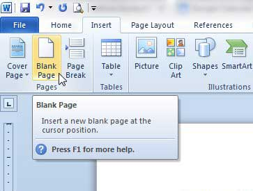 how to insert a blank page in word 2010