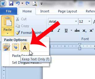 how to paste into word 2010 without formatting