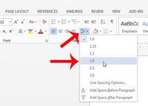 how to double space in word 2013