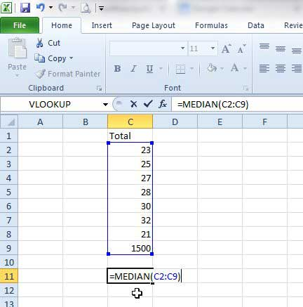 how to find the median in excel 2010