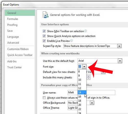 how to change the default font size in excel 2013