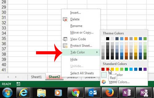 click tab color, then select the color for the worksheet tab