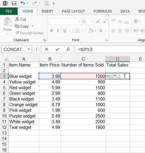 how to create a formula in excel 2013