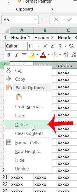 how to delete a row in excel 2013