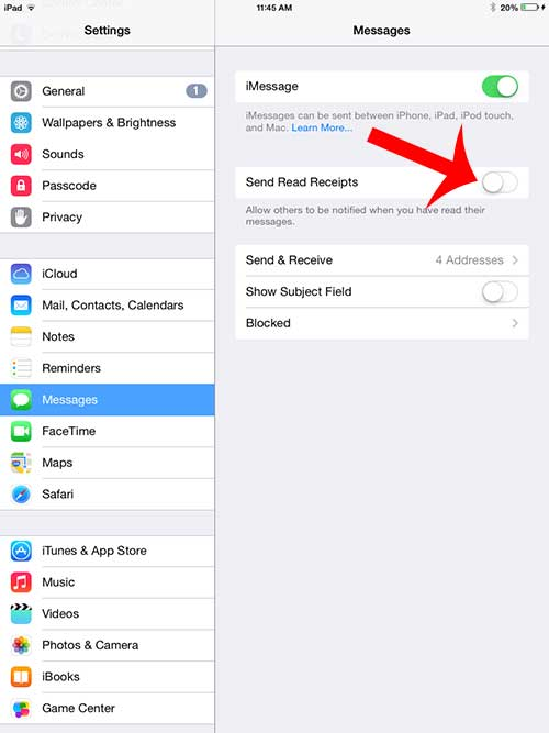 how to turn off read receipts on the ipad 2 in ios 7