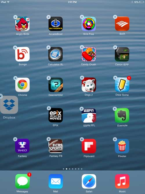 how to move apps on the ipad in ios 7
