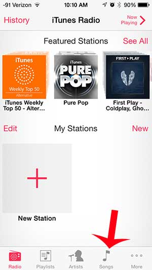 touch the songs option at the bottom of the screen