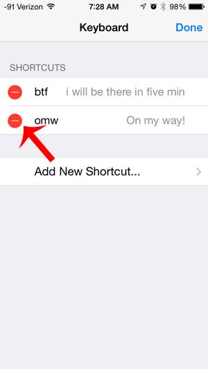 touch the red circle to the left of the shortcut to delete