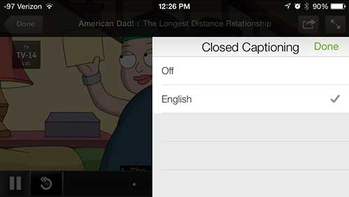 how to enabled closed captioning in hulu plus on the iphone