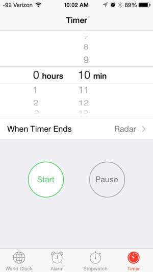 how to set a timer on the iphone 5
