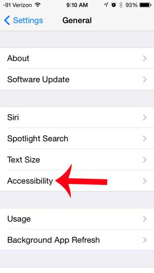 touch the accessibility option