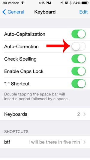 how to turn off auto-correction on the iphone 5 in ios 7