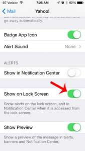 how to show yahoo mail alerts on the lock screen on the iphone 5