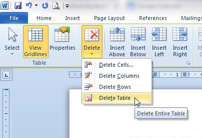 how to delete a blank table in word 2010