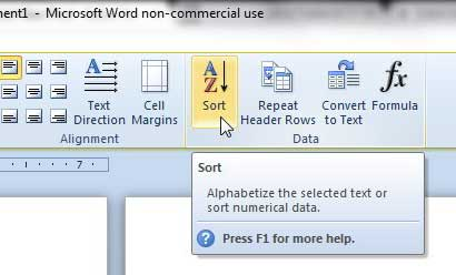 how to sort a table in word 2010
