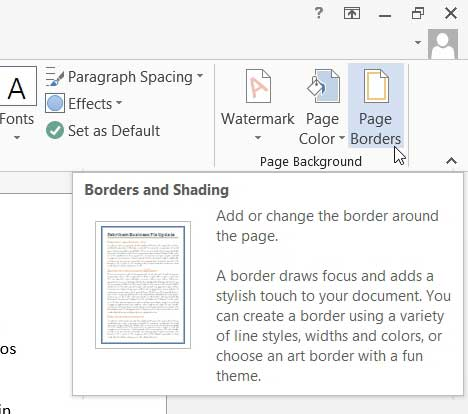 how to add page borders in word 2013