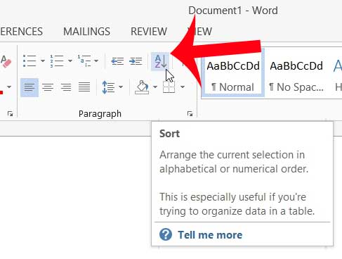 how to alphabetize a list in word 2013