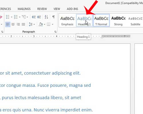 how to apply styles in Word 2013