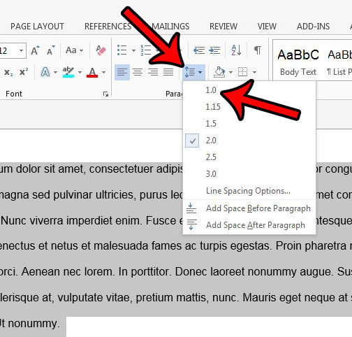 how to single space in word 2013