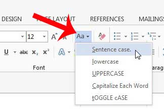 how to switch from uppercase in word 2013