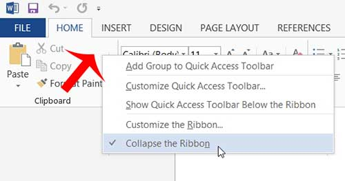 right-click in an empty space, then click collapse the ribbon