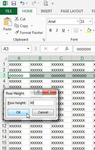 how to change row height in excel 2013