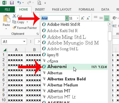 how to change the font of an entire worksheet in excel 2013