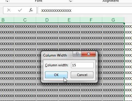 how to change the width of multiple columns in excel 2013