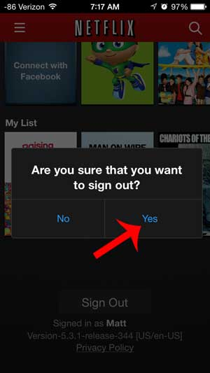 how to sign out of Netflix on an iPhone 5