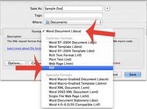 how to save as a pdf in word 2011