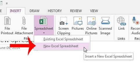 how to insert an excel spreadsheet in onenote 2013