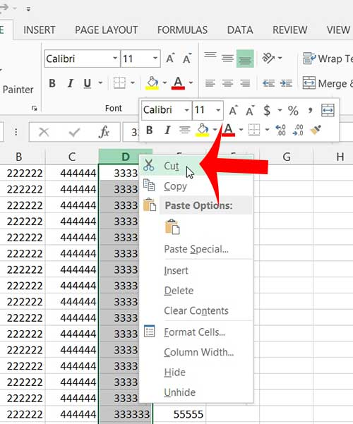 how to move a column in excel 2013