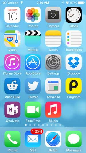 touch the home button to lock the apps into place