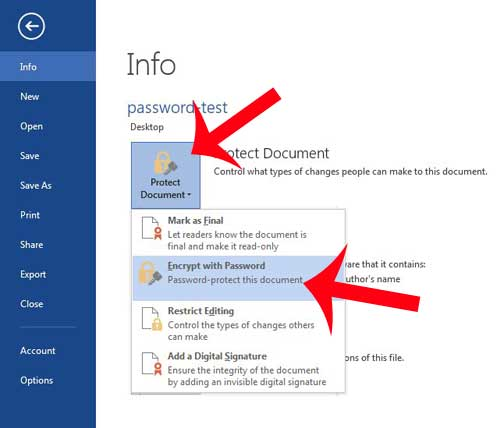 how to password protect a Word 2013 document