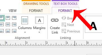 click the text box tools format tab