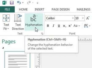 how to remove hyphens from text box in publisher 2013