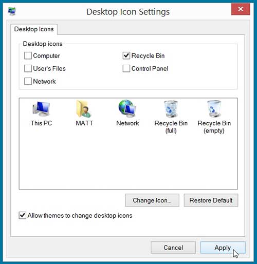 how to show the recycle bin on the desktop in windows 8