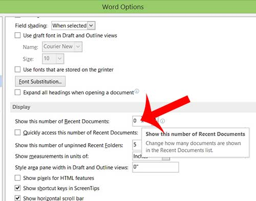 how to show zero recent documents in word 2013