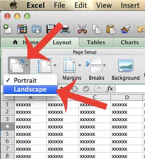 how to switch to landscape orientation in excel 2011